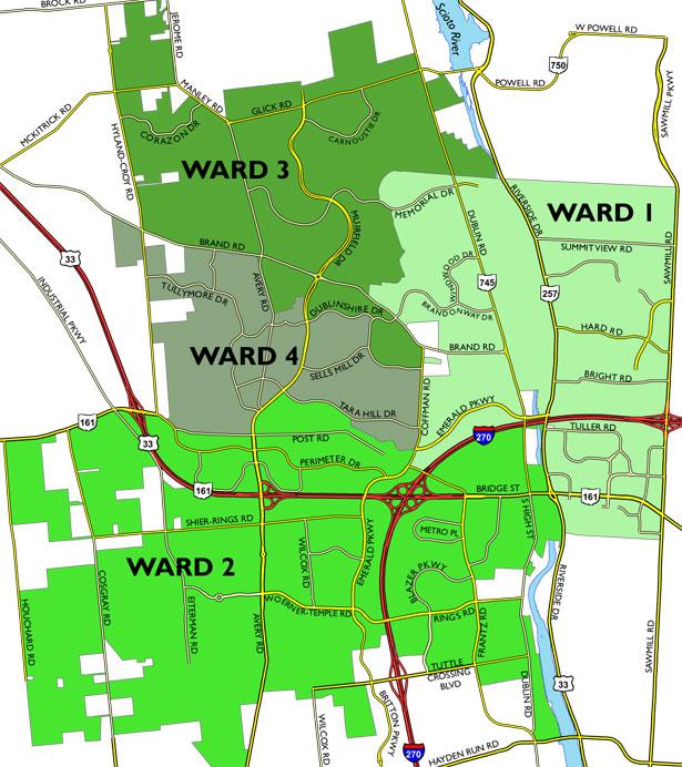 dublin ohio usa voting ward map