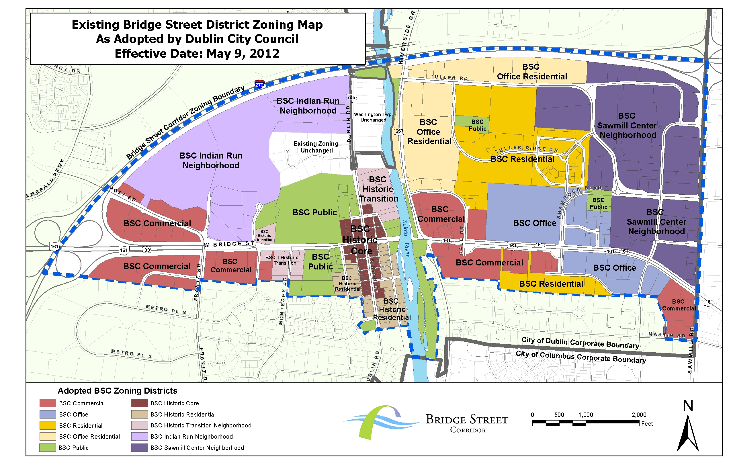 Dublin ohio usa bridge street district scioto river existing zoning map publicscrutiny Choice Image