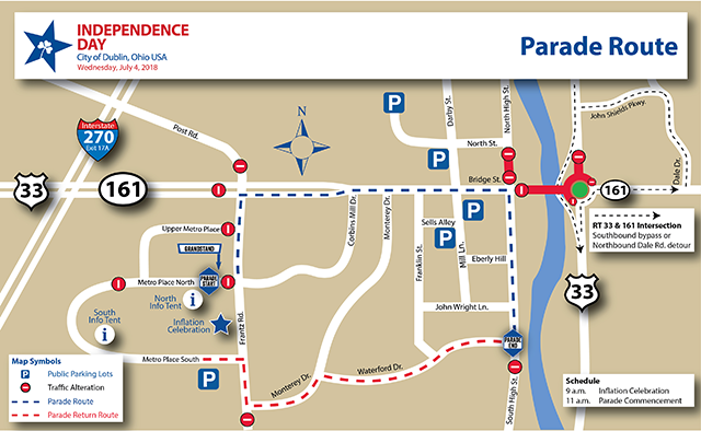 Dublin Ohio Usa Independence Day Parade Route Map Road Closures