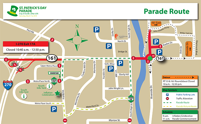 Dublin Ohio Usa St Patrick S Day Parade Route Road Closures